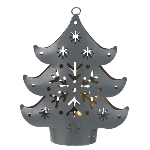 "4.5"" Pre-Lit Gray Petite Tree Cut Out Christmas Ornament - IMAGE 1"