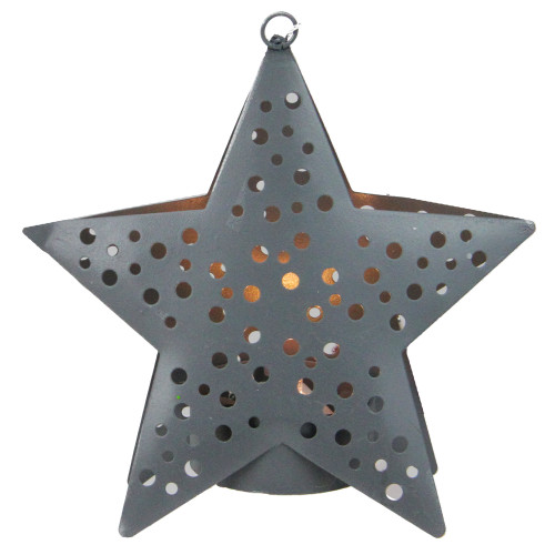"""4.5"""" Gray Lighted Round Cut-Outs Petite Star Christmas Ornament - IMAGE 1"""
