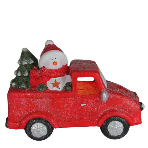 """14.5"""" Red Pre-Lit LED Snowman in Truck with Tree Christmas Tabletop Decor - IMAGE 1"""