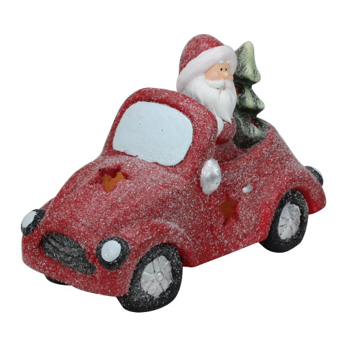 """14"""" Red LED Lighted Magnesia Glitter Car with Santa Claus Christmas Tabletop Decor - IMAGE 1"""