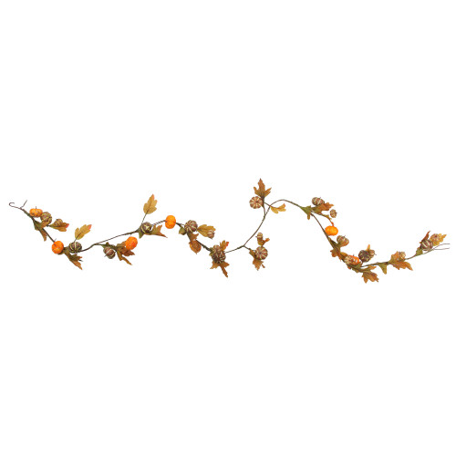 """4.75' x 1.5"""" Pumpkin and Fall Leaves Artificial Thanksgiving Garland - Unlit - IMAGE 1"""