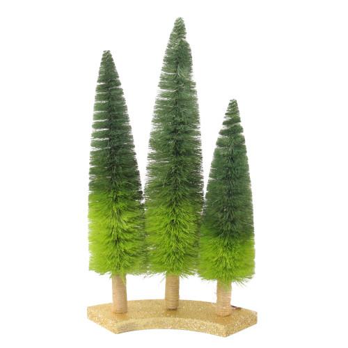 "15.75"" Ombre Green Sisal Tabletop Christmas Trees - IMAGE 1"