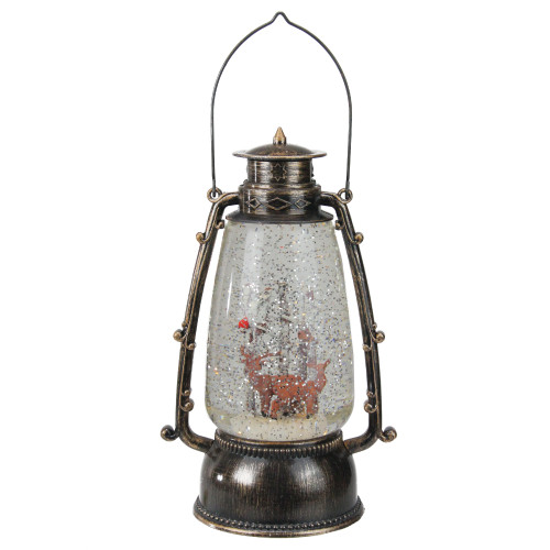 "9"" Country Rustic Lantern with Reindeer Table Top Christmas Decoration - IMAGE 1"