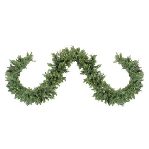 "9' x 9"" Pre-Lit LED Oregon Noble Fir Artificial Christmas Garland - Warm White Lights - IMAGE 1"