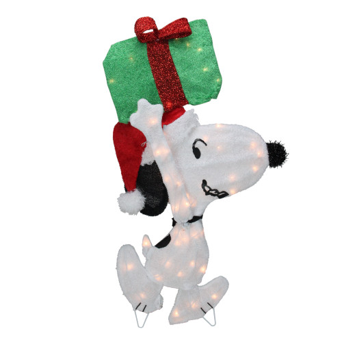 """32"""" Lighted Peanuts Snoopy with Present Christmas Outdoor Yard Decoration - IMAGE 1"""