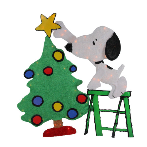 "32"" Green and White Lighted Peanuts Snoopy Christmas Tree Outdoor Decor - IMAGE 1"