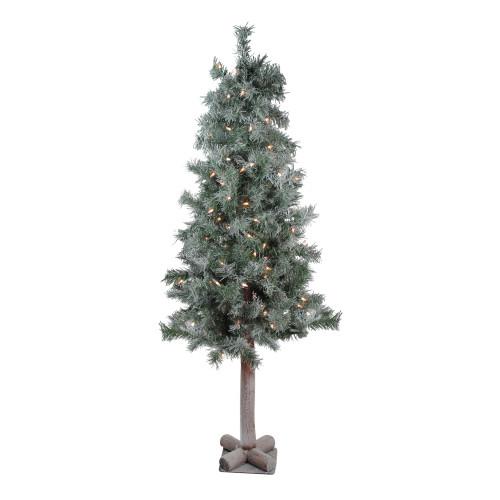 4' Pre-Lit Slim Woodland Alpine Artificial Christmas Tree - Clear Lights - IMAGE 1