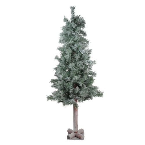 """4"""" x 22"""" Lightly Flocked and Glittered Woodland Alpine Artificial Christmas Tree - Unlit - IMAGE 1"""