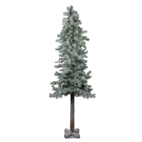 6' Slim Flocked and Glittered Woodland Alpine Artificial Christmas Tree – Unlit - IMAGE 1