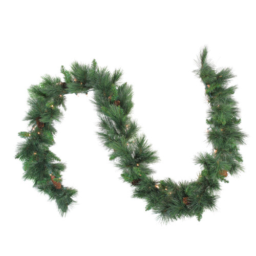 "9' x 14"" Pre-Lit White Valley Pine Artificial Christmas Garland - Clear Lights - IMAGE 1"