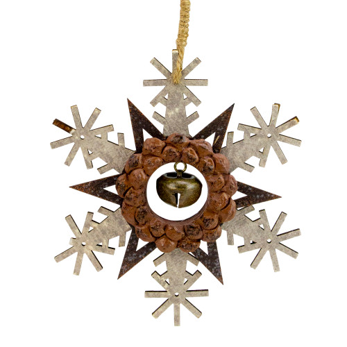 "6"" Brown and White Wooden Snowflake Christmas Ornament - IMAGE 1"