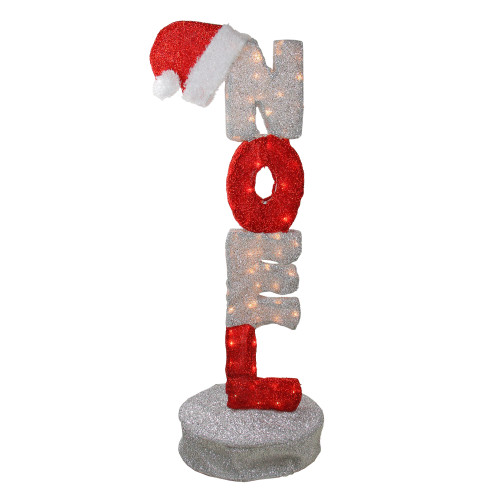 """41"""" Animated Red and Silver Lighted Noel Sign Christmas Outdoor Decoration - IMAGE 1"""