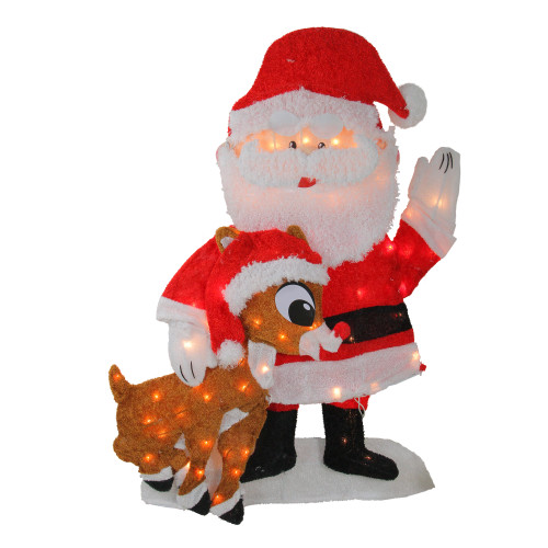 """32"""" Red and White Prelit Waving Santa Claus Christmas Outdoor Decor - IMAGE 1"""