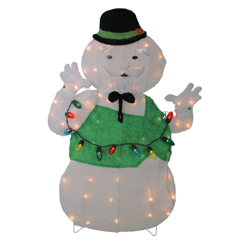 "33"" Pre-Lit White and Green Snowman Christmas Outdoor Decor - IMAGE 1"