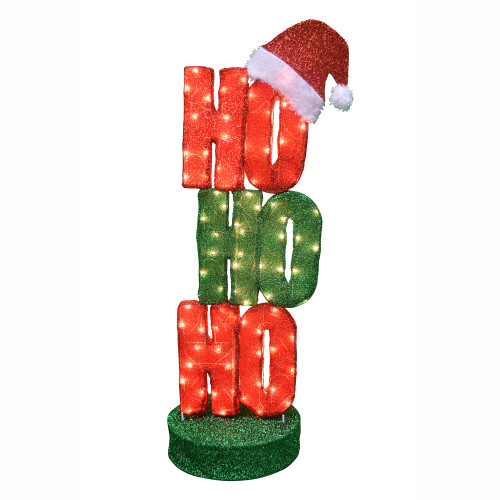 """44"""" Oscillating Red and Green Lighted """"Ho Ho Ho"""" Sign Christmas Outdoor Decoration - IMAGE 1"""