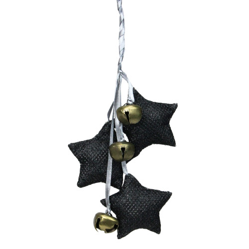 """10"""" Black and White Triple Star with Jingle Bells Christmas Ornament - IMAGE 1"""