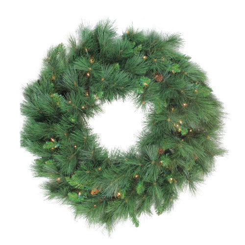 Pre-Lit White Valley Pine Artificial Christmas Wreath - 36-Inch, Clear Lights - IMAGE 1