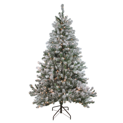 7' Pre-Lit Flocked Balsam Pine Artificial Christmas Tree - Clear Lights - IMAGE 1