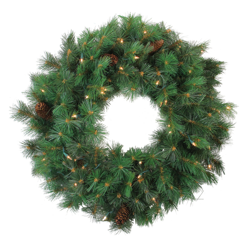 Pre-Lit Royal Oregon Pine Artificial Christmas Wreath, 24-Inch Clear Lights - IMAGE 1