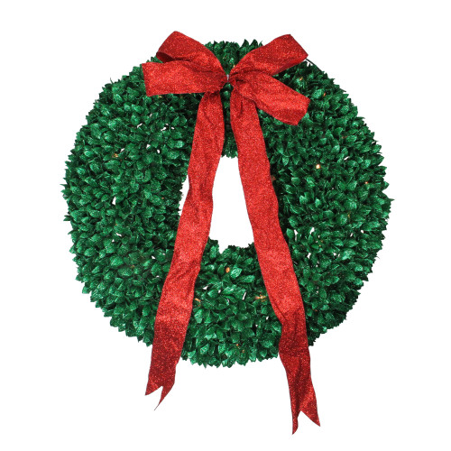 Pre-Lit Glittered Leaves Artificial Christmas Wreath - 28-Inch, Clear Lights - IMAGE 1