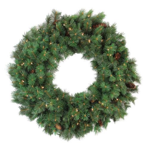 "36"" Pre-lit Royal Oregon Pine Artificial Christmas Wreath - Clear Lights - IMAGE 1"