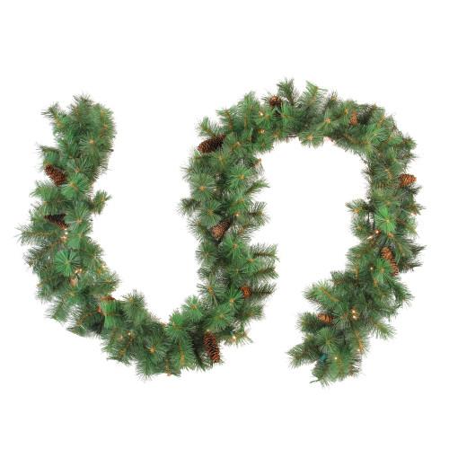 "9' x 12"" Pre-Lit Royal Oregon Pine Artificial Christmas Garland - Clear Lights - IMAGE 1"