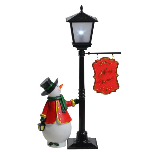 "14.5"" Mini Pre-lit Street Lamp and Snowman Christmas Table Top Display - IMAGE 1"
