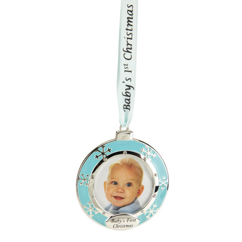 """3"""" Blue and Silver-Plated Baby's First Christmas Ornament with European Crystals - IMAGE 1"""