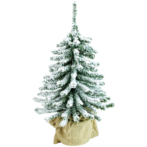 "15"" Potted Flocked Downswept Mini Village Pine Medium Artificial Christmas Tree, Unlit - IMAGE 1"