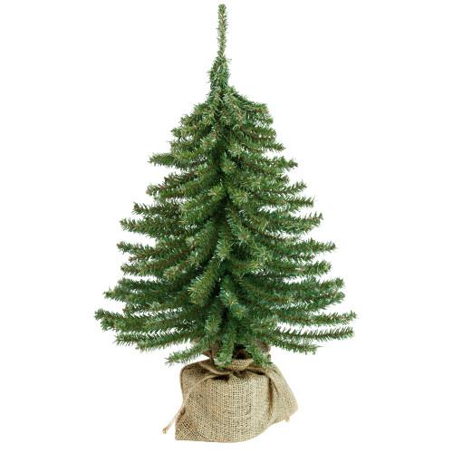 1.5' Potted Downswept Mini Village Pine Medium Artificial Christmas Tree, Unlit - IMAGE 1