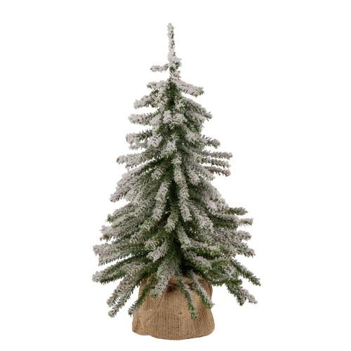 "18"" Potted Flocked Downswept Mini Village Pine Medium Artificial Christmas Tree - Unlit - IMAGE 1"