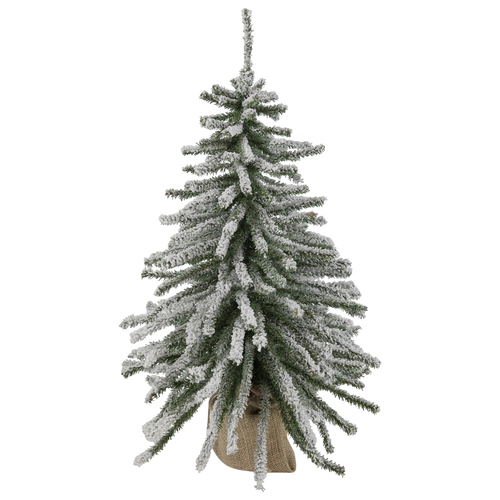 2' Potted Flocked Downswept Mini Village Pine Medium Artificial Christmas Tree - Unlit - IMAGE 1