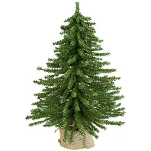 2' Potted Downswept Mini Village Pine Medium Artificial Christmas Tree, Unlit - IMAGE 1