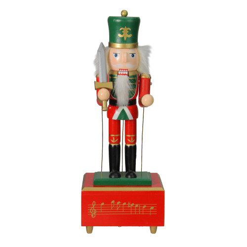 """12"""" Red and Green Musical and Animated Guard Christmas Nutcracker - IMAGE 1"""