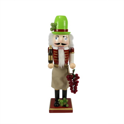 """14"""" Green and Red Wine with Grapes Christmas Nutcracker - IMAGE 1"""