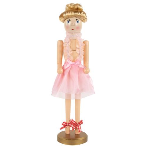 "15.5"" Pink Wooden Blonde Ballerina Tutu Christmas Nutcracker - IMAGE 1"