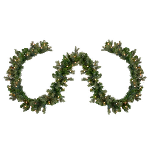 "9' x 12"" Pre-Lit Savannah Spruce Artificial Christmas Garland - Clear Lights - IMAGE 1"