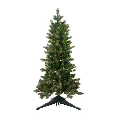 4' Pre-Lit Slim Savannah Spruce Slim Artificial Christmas Tree - Clear Lights - IMAGE 1