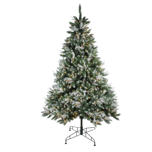 6.5' Pre-Lit Medium Frosted Sierra Fir Artificial Christmas Tree - Warm Clear LED Lights - IMAGE 1