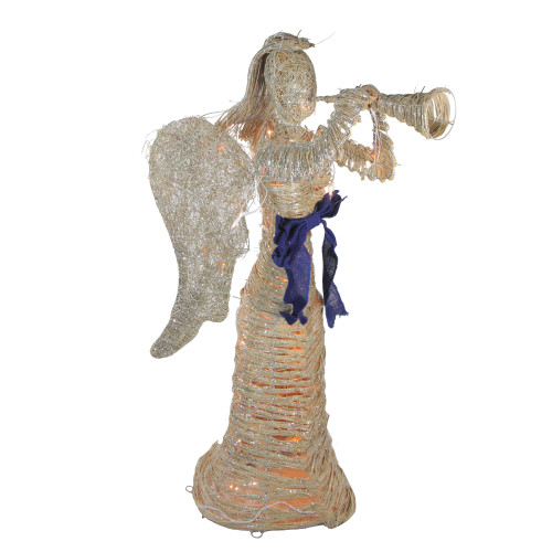 4.25' Lighted Silver and Beige Glitter Dusted Angel with Horn Outdoor Christmas Yard Art Decor - IMAGE 1