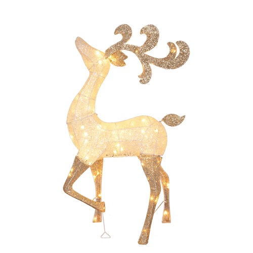 4.6' Lighted and Glitter Drenched Reindeer Outdoor Christmas Yard Art - IMAGE 1