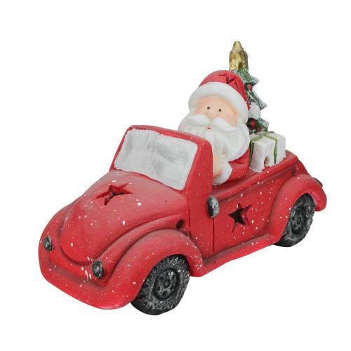 """15"""" Red and White Santa Claus Driving Vintage Beetle Christmas Tree Table Top Decoration - IMAGE 1"""
