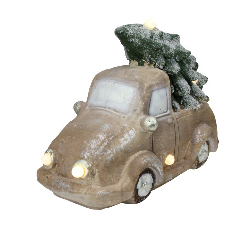 """15.5"""" LED Lighted and Musical Vintage Truck with Christmas Tree Tabletop Decor - IMAGE 1"""