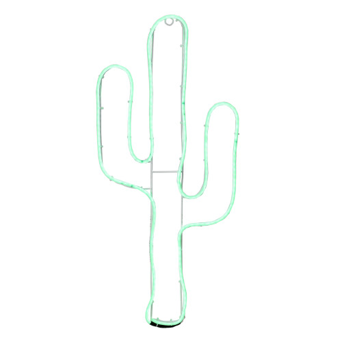 """24.5"""" Neon Style LED Lighted Green Cactus Window Silhouette Decoration - IMAGE 1"""