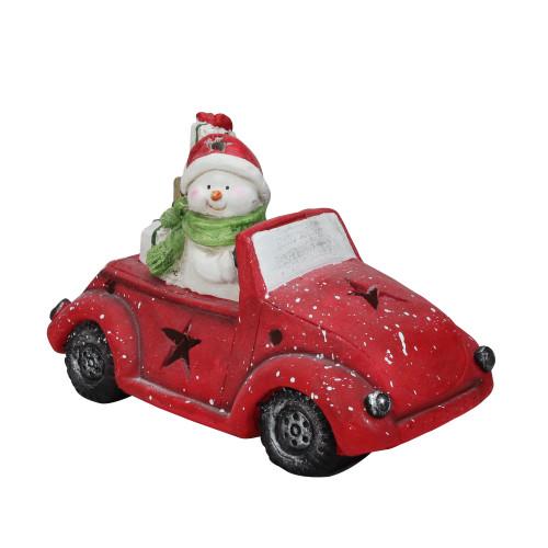 Pre-Lit LED Joyful Snowman Driving a Red Beetle Star Car Tabletop Decor - IMAGE 1