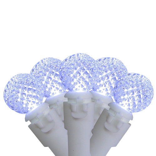 """Set of 50 Pure White LED G12 Berry Christmas Lights 4"""" Bulb Spacing - White Wire - IMAGE 1"""