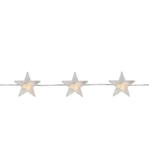 20 Battery Operated Warm White LED Micro Star Fairy Christmas Lights - 6 ft Clear Copper Wire - IMAGE 1