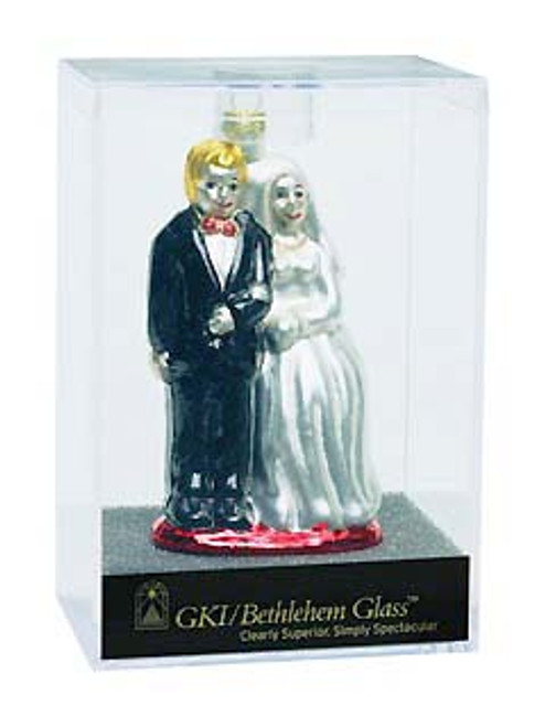4 Bride And Groom Glass Wedding Christmas Ornament - IMAGE 1