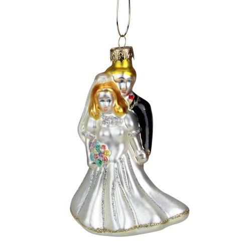 "4"" White and Black Glittered Bride with Groom Glass Christmas Ornament - IMAGE 1"