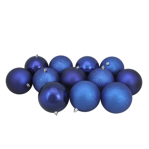 "12ct Blue Shatterproof 4-Finish Christmas Ball Ornaments 4"" (100mm) - IMAGE 1"